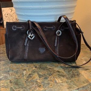 Brighton Shoulder Bag Suede With Pebbled Leather